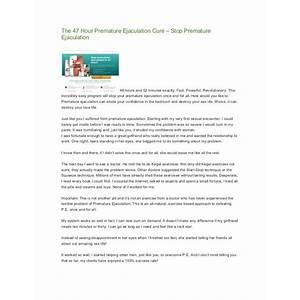 The 47 hour premature ejaculation cure stop premature ejaculation work or scam?