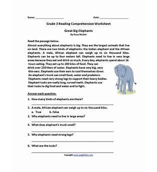 Third Grade Reading Worksheets