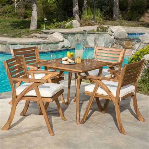 Tim Teak Patio Dining Chair with Cushion (Set of 2)