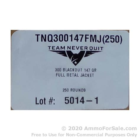 TRAINING AMMO 300 AAC BLACKOUT 147GR FMJ TEAM NEVER QUIT