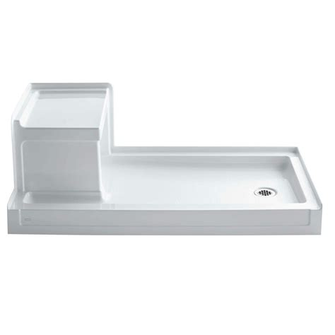 "Tresham 60"" x 32"" Single Threshold Left-Hand Drain Shower Base with Integral Right-Hand Seat"