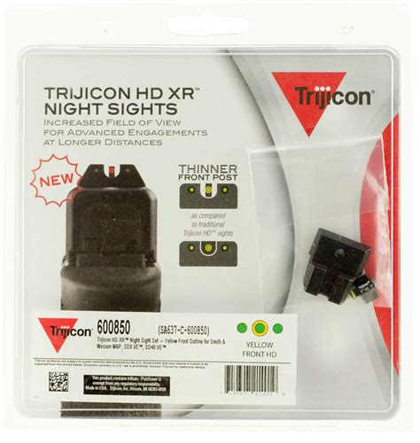 Trijicon Hd Xr Night Sights For Smith Wesson Hd Xr Night Sight Setsw Mp Sd9 Ve Sd40 Ve Yellow