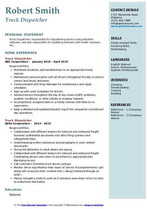 Truck Dispatcher Resume Examples Sample Job Interview Career Guide