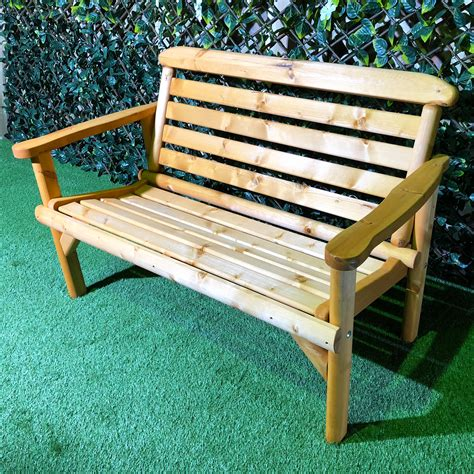 Two seater wooden bench Image