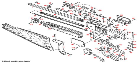 Uberti 1866 Rifle Explosionszeichnung Brownells Schweiz