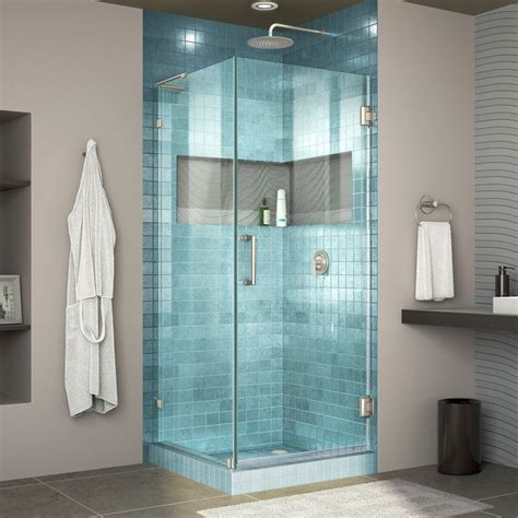 "Unidoor Lux 30.38"" x 72"" Hinged Frameless Shower Door with Clear Max Technology"