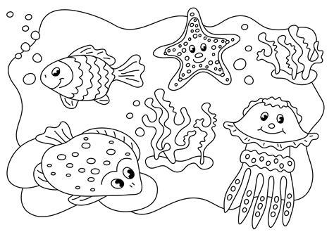 Unterwasser Tiere Malvorlagen Für Kinder