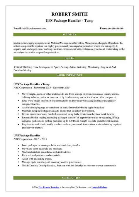 Ups Package Handler Job Description For Resume Resume