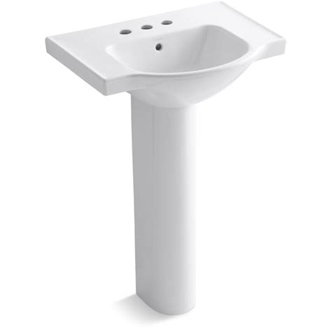 "Veer Ceramic 24"" Pedestal Bathroom Sink with Overflow"