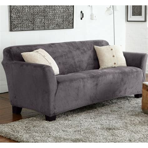 Velvet Plush Form Fit Stretch Box Cushion Sofa Slipcover