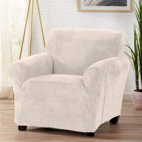 Velvet Plush Form Fit Stretch T-Cushion Armchair Slipcover
