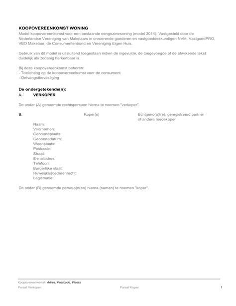 Vereniging Eigen Huis Model Koopovereenkomst Huis Design 2018 Beste Huis Design 2018 [somenteonecessario.club]