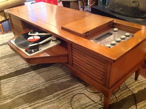 Vintage Record Player End Table Cabinet Image