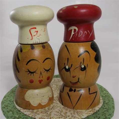 Vintage wooden salt and pepper shakers Image