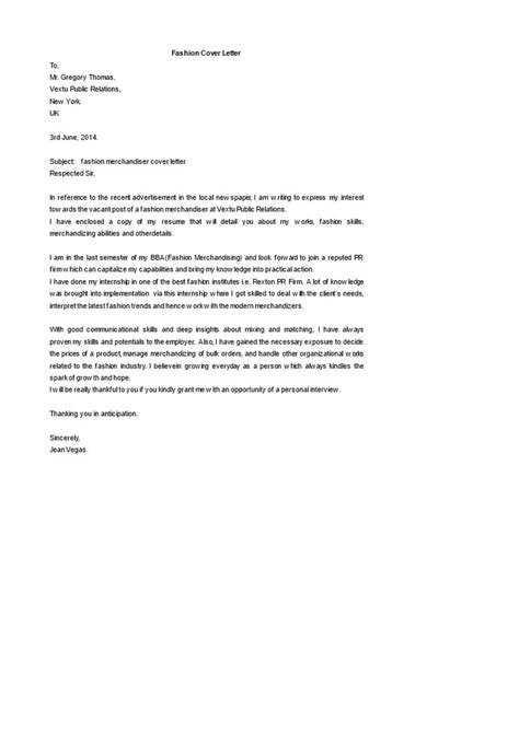 Cover Letter Examples Visual Merchandising