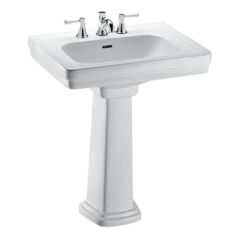 Vitreous China Rectangular Pedestal Bathroom Sink