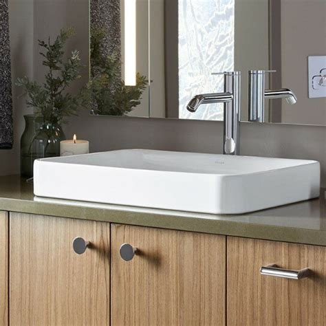 Vox Vitreous China Rectangular Vessel Bathroom Sink with Overflow
