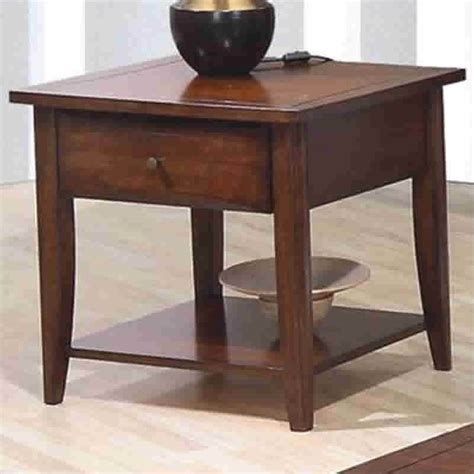 Walnut End Table With Drawer Image