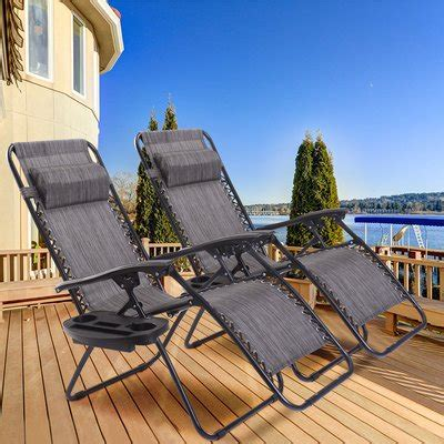 Warwickshire Zero Gravity Reclining Chaise Lounge with Utility Tray (Set of 2)