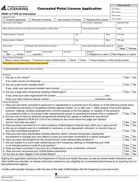 Washington County Concealed Handgun License Application