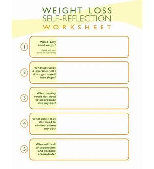 Weight Loss Goals Worksheet