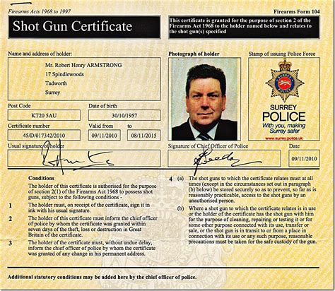 What Does A Shotgun Licence Look Like