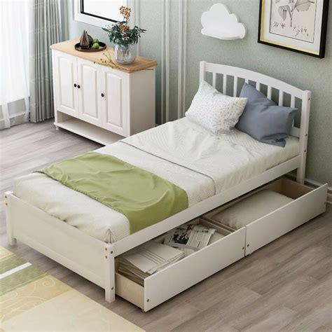 White Twin Bed Frame With Storage