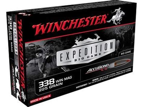 Winchester Expedition Big Game 338 Winchester Magnum Ammo 338 Win Mag 225gr Nosler Accubond Ct 20box