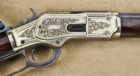 Winchester Lever Action 1873 Engraved Rifle 38 Replica