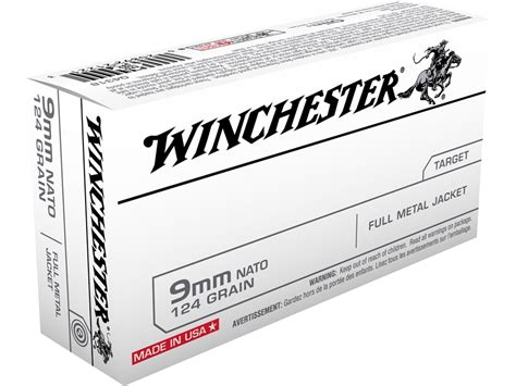 Winchester NATO Ammo 9mm Luger 124 Grain Full Metal Jacket