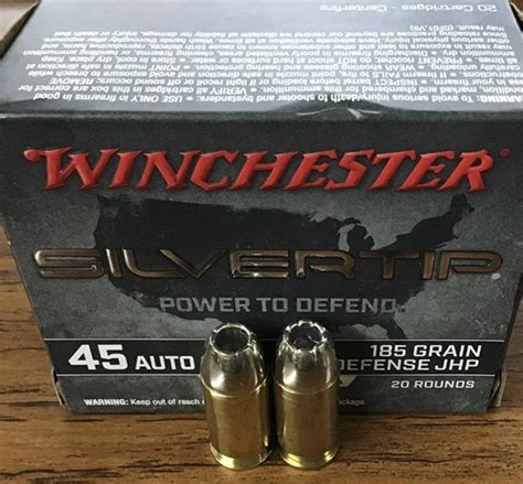 Winchester Superx 45 Acp 185gr Silvertip Hp 20 Red And Sig Sauer Sight Rear Night Sight 8 Blue Two Tone