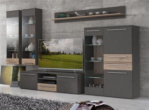 Wohnwand Holz Grau