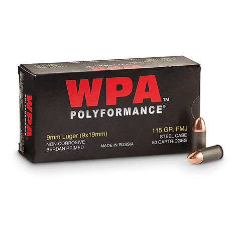 Wolf Polyformance 9mm 115gr FMJ Ammo - Ventura Munitions