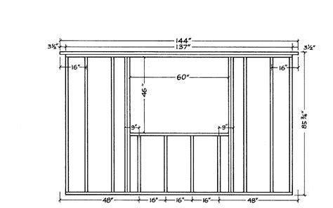 wood framed wall plan dimensions