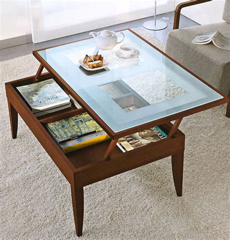 wood glass lift top coffee table