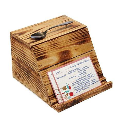 wood recipe box recipe organizer recipe cards Image