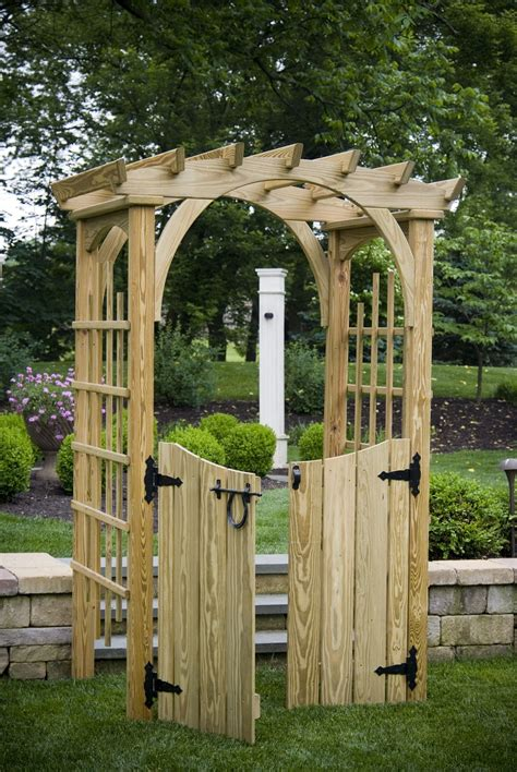 Wood arbor with gate Image
