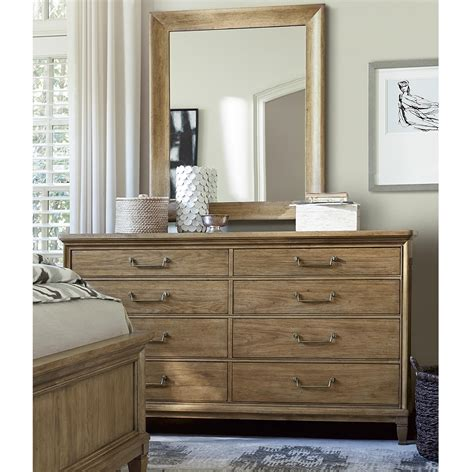 Wood dresser with mirror drawers Image
