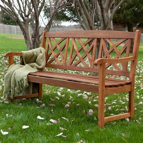 Wood patio bench Image