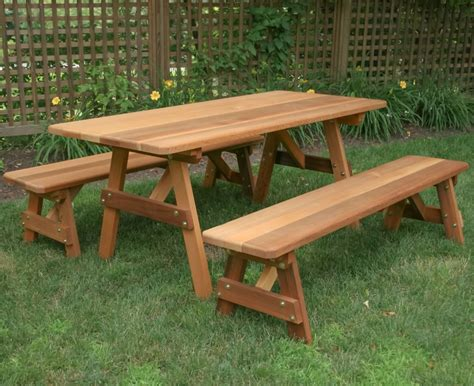 Wood picnic bench Image