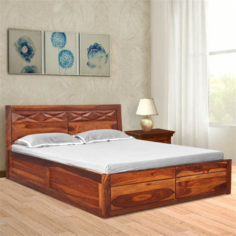 wooden bed design with head box