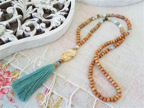 wooden bead necklace with tassel.aspx Image