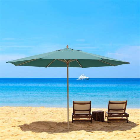 Wooden beach umbrella Image