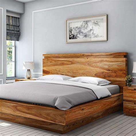 Wooden bed design Image
