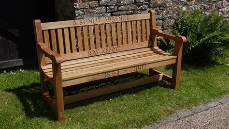 Wooden bench engraved Image