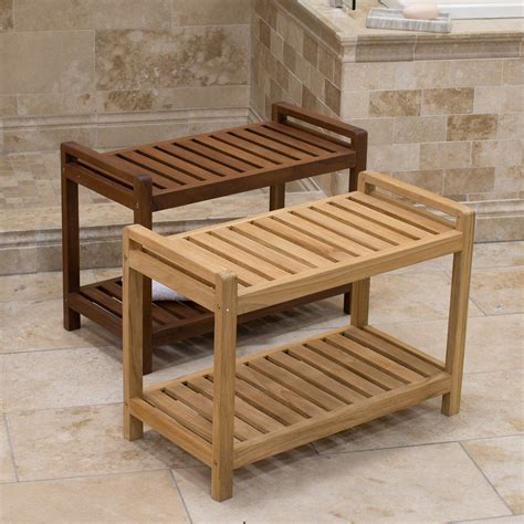 Wooden bench for bathroom Image