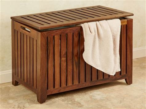 Wooden Bench Laundry Hamper Image