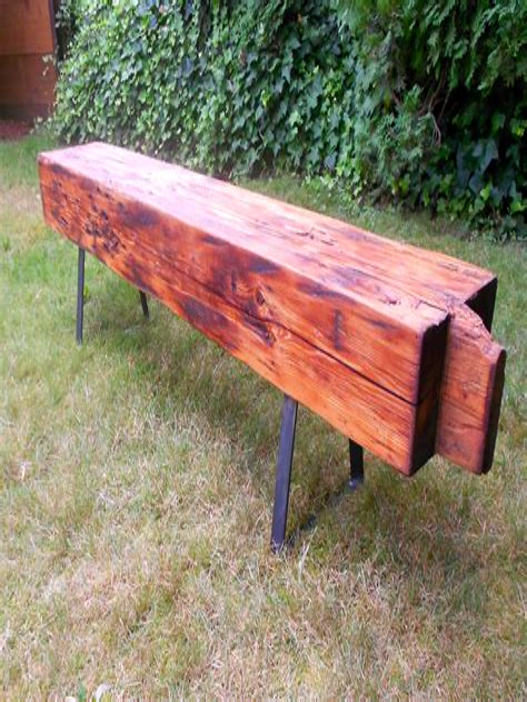 Wooden bench metal legs Image