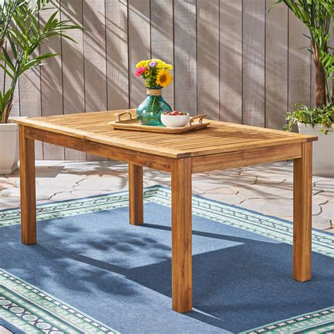 Wooden bench table outdoor Image