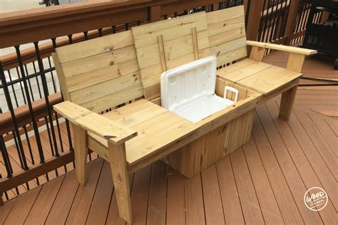 Wooden bench with cooler Image